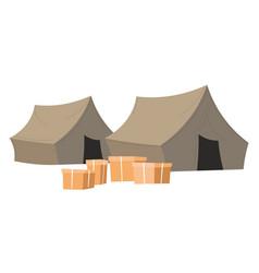humanitarian help center shelter with carton vector image