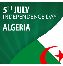 independence day of algeria flag and patriotic vector image