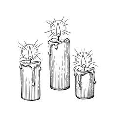 Ink sketch burning candles vector