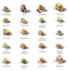 isometric travel icons vector image