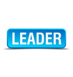 Leader blue 3d realistic square isolated button vector image