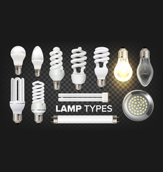 Led fluorescent and incandescent lamps set vector