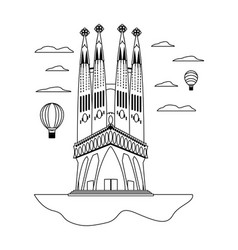 Line sagrada familia tower and air balloons vector