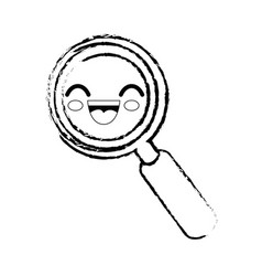 Magnifying glass cartoon smiley vector