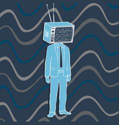 Man television head concept vector