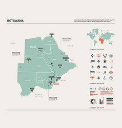 Map botswana high detailed country vector