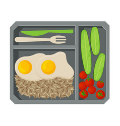 Meal tray filled with fried egg rice and vector