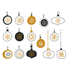 merry christmas balls with snowflakes christmas vector image
