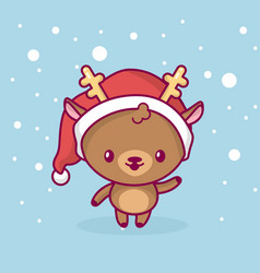 Merry christmas cute kawaii character vector