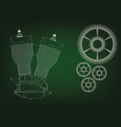 Motorcycle engine and cogwheels vector