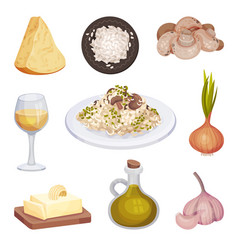 Mushroom risotto italian food dish with cooking vector