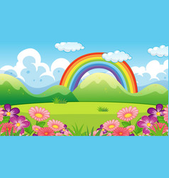 Nature scene background with rainbow and flowers vector