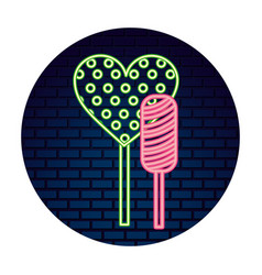 neon sweet candies lollipops heart bar vector image