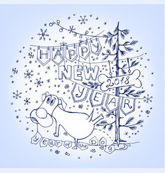 New year postcard vector