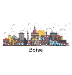 outline boise idaho city skyline with color vector image