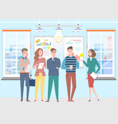 People on business seminar man and woman in office vector