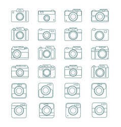 Photo camera icons set in flat style set vector