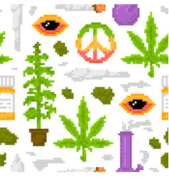 Pixel art game style medical marijuana objects vector