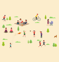 public park with people riding bicycle skateboard vector image