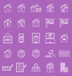 Real estate line icons on violet background vector image
