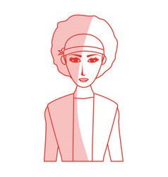 red silhouette shading cartoon half body woman vector image