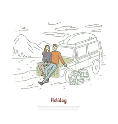 road trip couple in love on holiday vector image