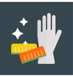 Rubber gloves and cellulose sponges flat icon vector