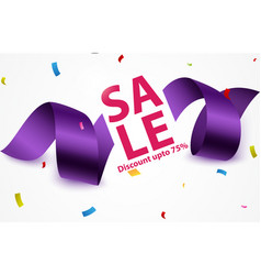sale banner with ribbon and confetti vector image