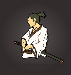Samurai ready to fight action graphic vector