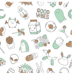 seamless pattern background with doodles vector image