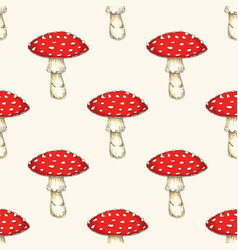 Seamless pattern with fly agaric mushroom vector
