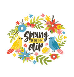 seasonal postcard template with spring is in the vector image