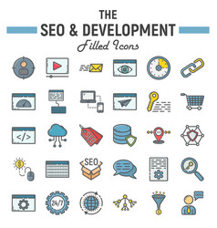 seo and development filled outline icon set vector image