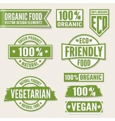 Set of bright green labels and logo Natural eco vector