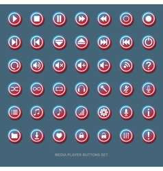 set of transparent media player buttons with red vector image