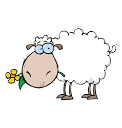 Sheep carrying a flower in its mouth vector