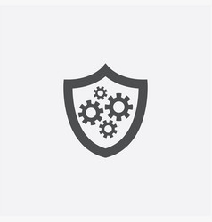 Shield gear icon vector