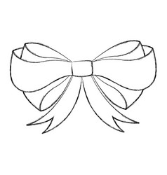 sketch draw christmas bow cartoon vector image