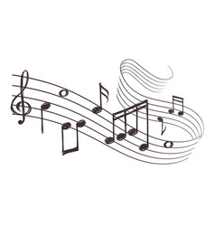 sketch musical sound wave with music notes hand vector image