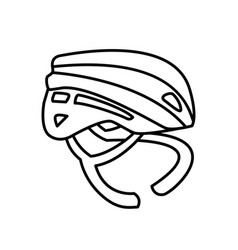 Sport helmet cycling line style icon vector