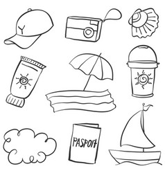summer object of doodle style vector image
