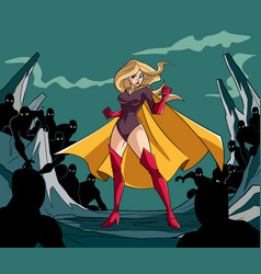 Superheroine ready for battle vector