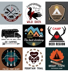 symbols of the national park and open camp vector image