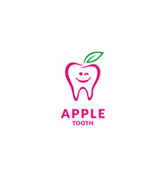 teeth tooth dental dentist cartoon fruit leaf logo vector image