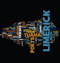 the lure of the limerick text background word vector image