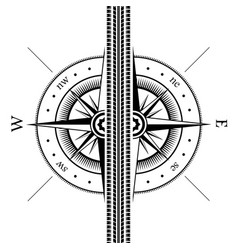 tire track and wind rose vector image