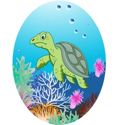 turtle in underwater vector image vector image