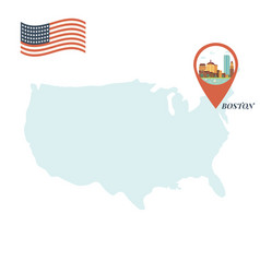usa map with boston pin travel concept vector image