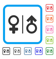 Wc gender symbols framed icon vector