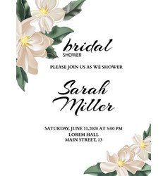 wedding nature template with tender flowers and vector image